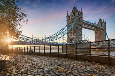 Quadro A, ponte torre, em, londres, reino unido, durante, um, dourado, amanhecer
