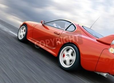Quadro A Red Sports Car Speeding on Blurry Asphalt Road. 3D Render