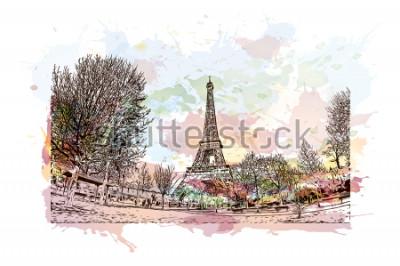 Quadro A Torre Eiffel é uma torre de treliça de ferro forjado no Champ de Mars, em Paris, França. Respingo de aquarela com mão desenhada desenho ilustração em vetor.