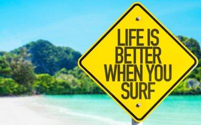 Quadro A vida é melhor quando você navega o sinal com fundo da praia