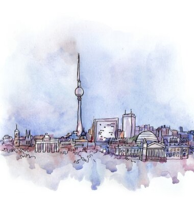 Quadro A vista de Berlim aquarela da união europeia país isolado no fundo branco
