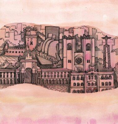Quadro A vista panorâmica da cidade de lisboa mão desenhada no papel de parede isolado no fundo de cor