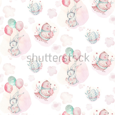 Quadro A watercolor spring illustration of the cute easter baby bunny. Rabbit cartoon animal seamless pattern with balloon nd bird