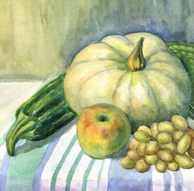Quadro Abóbora, maçã, abobrinha, uvas, ainda vida. Pintura da aguarela
