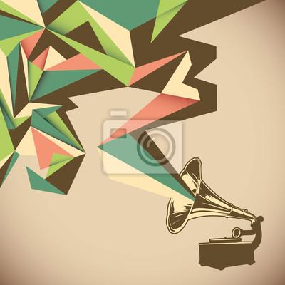 Quadro Abstração angular com o velho gramofone.