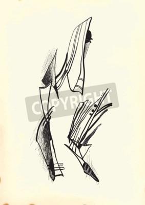 Quadro Abstração pelo cubismo. Uma ilustração tirada mão do vetor da série: Arte da linha arte. Técnica: Desenho digital.
