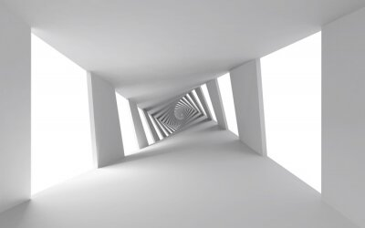 Quadro Abstract 3d background with white twisted spiral corridor