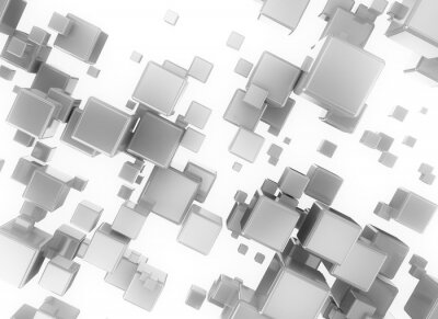 Quadro Abstract 3d cubesisolated digital sobre fundo branco