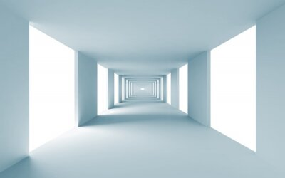 Quadro Abstract architecture 3d background, empty blue corridor