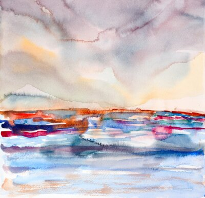Quadro abstract colorful seascape watercolor painted