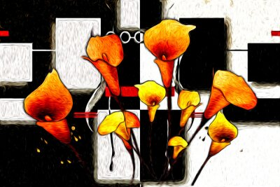 Quadro Abstract flower oil painting