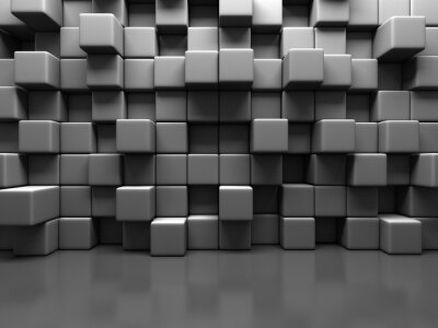 Quadro Abstract Gray Cube Blocks Wall Background