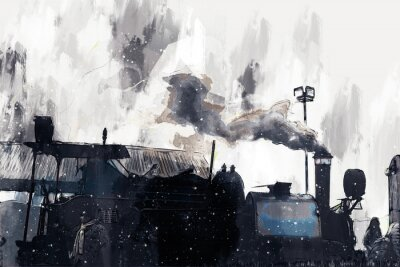 Quadro Abstract painting of vintage train with smoke, digital painting