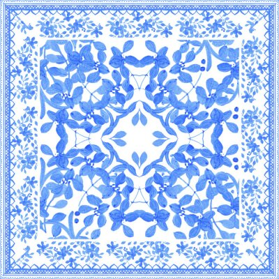 Quadro Abstract seamless tradition watercolor pattern