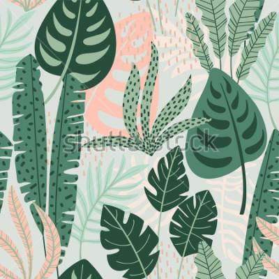Quadro Abstrata sem costura padrão com folhas tropicais. Mão desenhar textura. Modelo de vetor