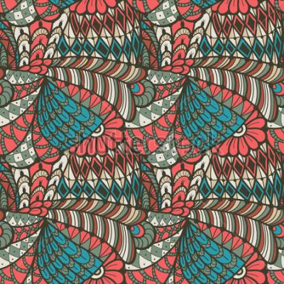 Quadro Abstrata sem costura padrão no estilo doodle. Ilustração vetorial