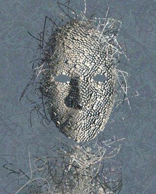 Quadro Abstrato Máscara surreal com muitos fios