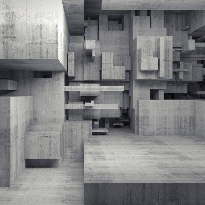 Quadro Abstratos, 3D, concreto, interior, caótico, cubos