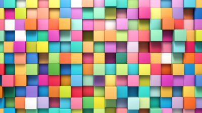 Quadro Abstratos, fundo, multi-colorido, cubos