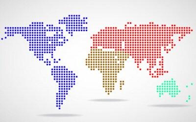 Quadro Abstratos, mundo, mapa, redondo, pontos