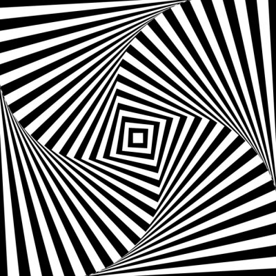 Quadro Abstratos, vetorial, óptico, ilusão, pretas, branca