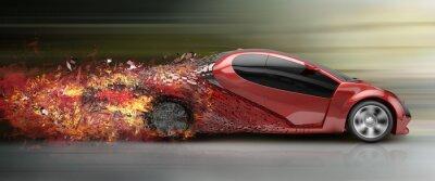 Quadro acelerando desintegração carro