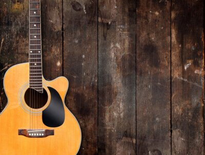 Quadro Acoustic Guitar on Rustic Background