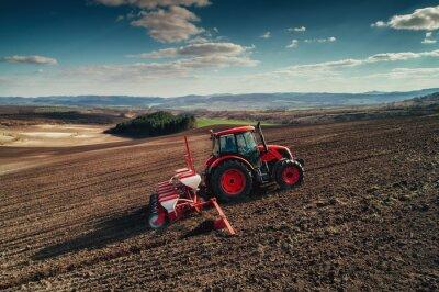 Quadro Aéreo, vista, tratores, trabalhando, colheita, campo