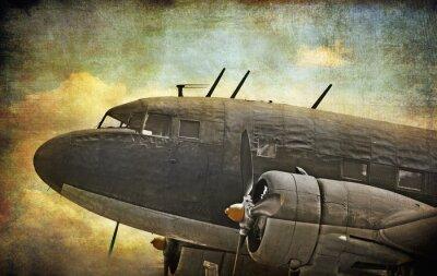 Quadro Aeronave militar velho, fundo do grunge