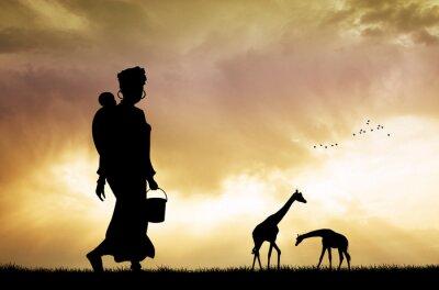 Quadro Africano mulher e filho ao pôr do sol