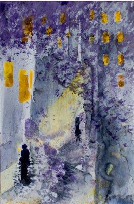 Quadro Aguarela, abstratos, urbano, paisagem