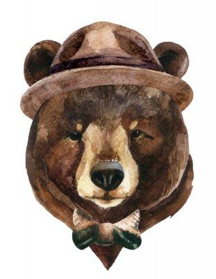 Quadro Aguarela de cabeça de urso