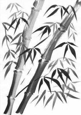 Quadro Aguarela de dois talos de bambu pintados com traçados grunge. Gouache preto no estudo de papel branco.