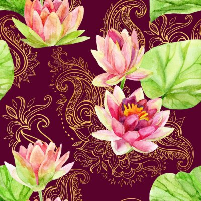 Quadro Aguarela flor de lótus no ornamento dourado. Seamless, Padrão