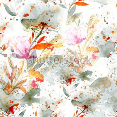 Quadro aguarela ingênua - derramando e espirrando. motivos florais. mão pintada sem costura padrão. fundo para decoração e design têxtil. papel de parede botânico. quadro floral da arte chique do boho