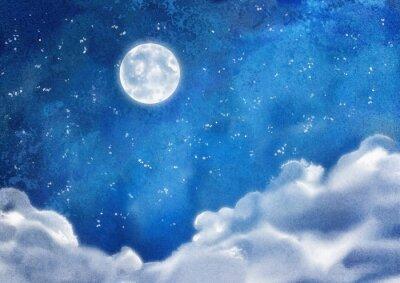 Quadro Aguarela Nightly Nuvens