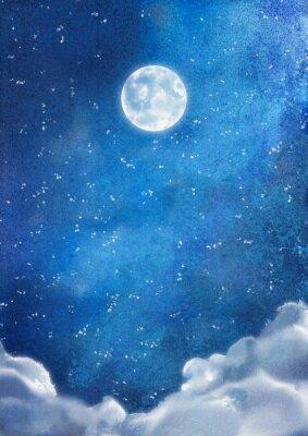 Quadro Aguarela Nuvens noturnas