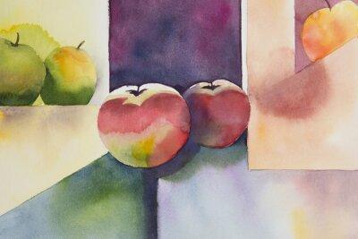 Quadro Aguarela original, ainda vida, design da maçã.