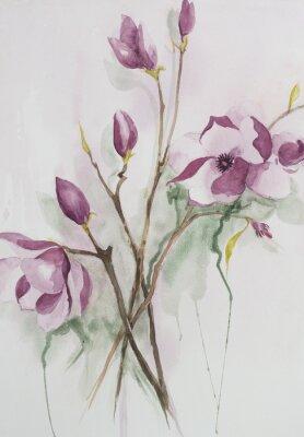 Quadro Aguarela original, flores de magnólia.