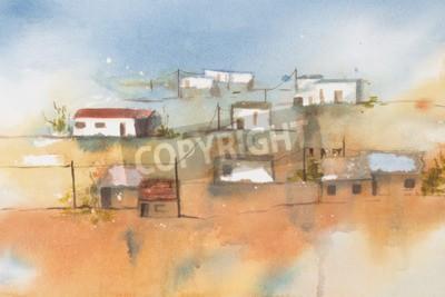 Quadro Aguarela original, vila africana.