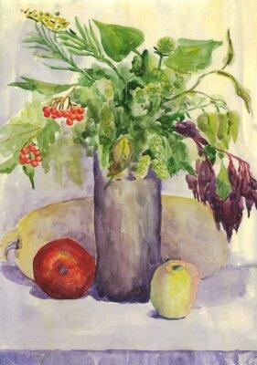 Quadro Ainda vida. Bouquet, Maçã, abobrinha, Rowan. Pintura da aguarela