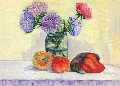 Quadro Ainda vida. Buquê de ásteres, maçãs, pimentões, berinjela. Pintura da aguarela