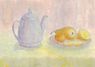 Quadro Ainda vida com chaleira e fruta. Pêra, limão, tangerina na placa. Pintura da aguarela