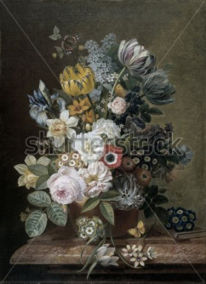 Quadro Ainda vida com flores, por Eelke Jelles Eelkema, c. 1815-39, pintura a óleo holandesa, óleo sobre tela. Buquê de rosas, tulipas, narcisos, íris, em um plinto de pedra. Entre as flores é uma borboleta.