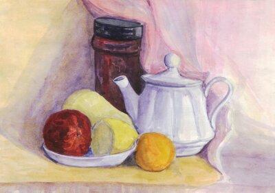Quadro Ainda vida com fruta e chaleira. Pêra, limão, tangerina na placa. Pintura da aguarela
