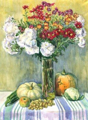 Quadro Ainda vida com um ramalhete das flores, das frutas e dos vegetais. Pintura da aguarela