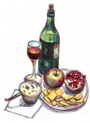 Quadro Ainda vida com vinho e fruta. Pintura da aguarela