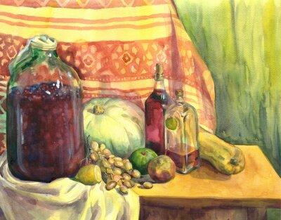 Quadro Ainda vida com vinho, fruta e vegetais. Pintura da aguarela