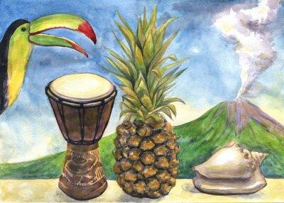 Quadro Ainda vida exótica. Pintura da aguarela. Abacaxi, tambor, toucan, concha, vulcão