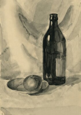 Quadro Ainda, vida, garrafa, maçã, aguarela